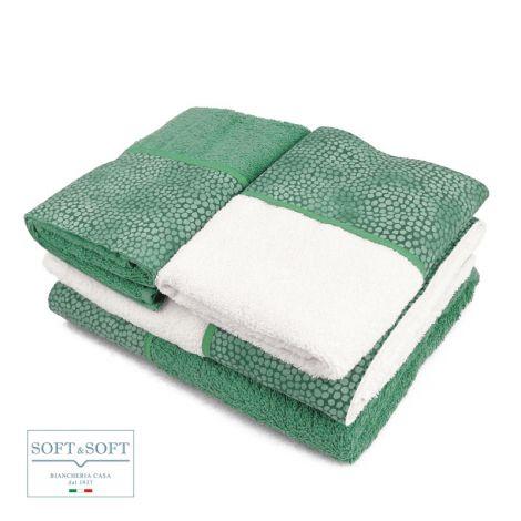 BALZA COCCO set asciugamani casa 4 pezzi puro cotone con balza-Verde
