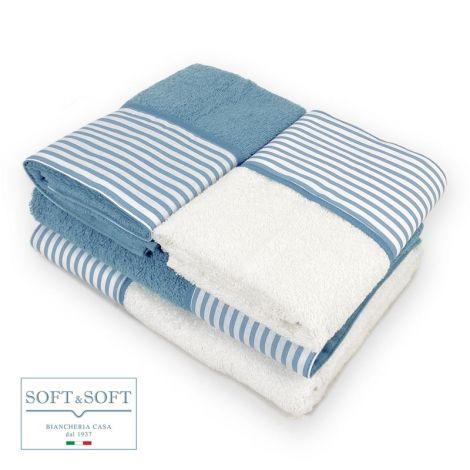 BALZA RIGA set asciugamani casa 4 pezzi puro cotone con balza -Azzurro