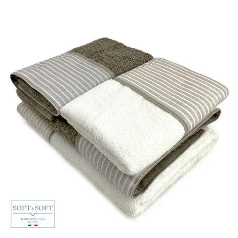 BALZA RIGA set asciugamani casa 4 pezzi puro cotone con balza -Corda