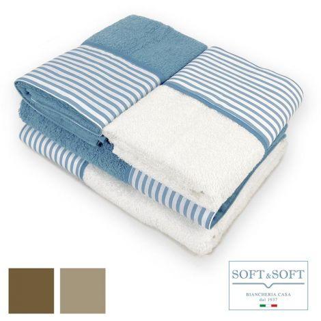 BALZA RIGA set asciugamani casa 4 pezzi puro cotone con balza