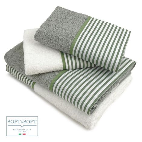 BALZA RIGA set asciugamani casa 4 pezzi puro cotone con balza -Verde