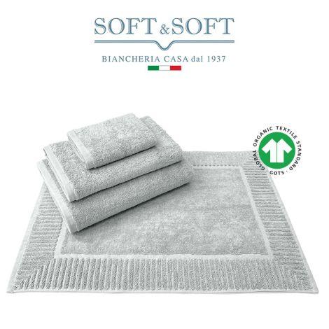 COTONE BIOLOGICO Set Biancheria Bagno Asciugamani e Tappetino 4 pz. 500 gr/m² - Biosoffy Grigio