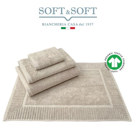 COTONE BIOLOGICO Set Biancheria Bagno Asciugamani e Tappetino 4 pz. 500 gr/m² - Biosoffy Tortora