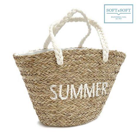 SUMMER borsa da mare in paglia intrecciata con scritta