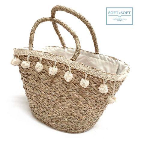 COOL borsa da mare in paglia intrecciata con zip