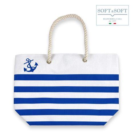 Borsa spiaggia stripes cm 35x50 blu