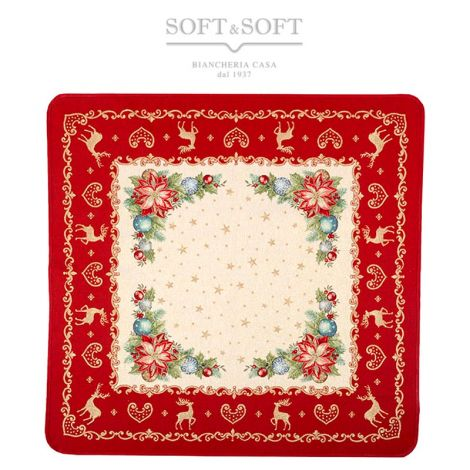 BOUQUET Christmas Centrepiece Gobelin Fabric cm 100x100
