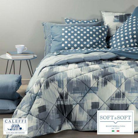 BRERA Winter Quilt Size SQUARE AND HALF 220x265 CALEFFI Grey