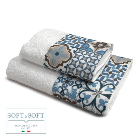 CEMENTINA  set asciugamani 1+1 balza maiolica-Bianco