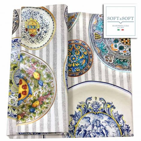 Heavy ceramic printed tablecloth 6 cm 150x180