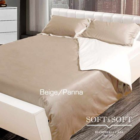 COCO Duvet cover set for double queen bed MAXI cotton Satin Beige/Cream