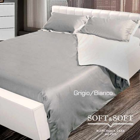 COCO Duvet cover set for double queen bed MAXI cotton Satin white/Grey