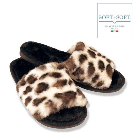 Animalier Pelliccia ciabatta da casa con suola i gomma Leopardo