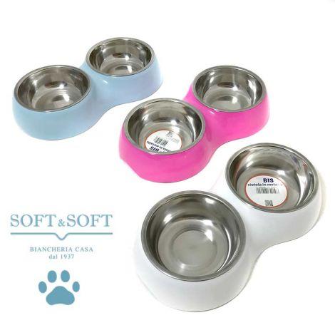 Citotola doppia pet cane gatto per crocchette ed acqua in tre colori, celeste, rosa, bianco, due vaschette in metallo su un supporto in plastica dura