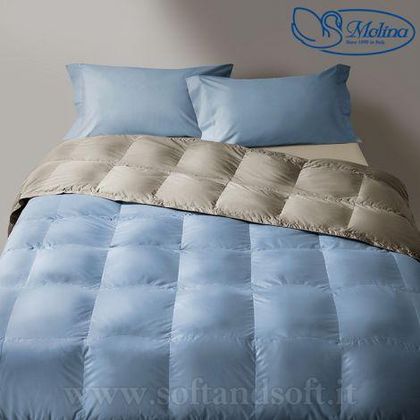 trapunta letto piazza e mezza piuma d'oca azzurro grigio
