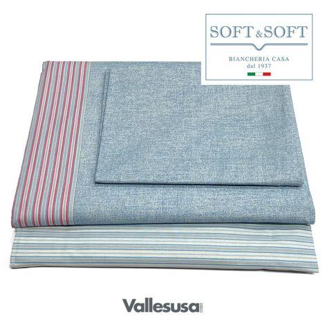 CONFIDENT completo lenzuola SINGOLO stampato VALLESUSA-Pastello
