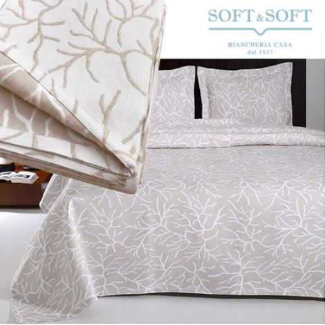 CORAL single bedspread in matelassé jacquarde fabric cm 170x260