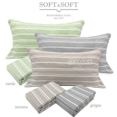 copripiumino singolo no stiro, sacco dai colori tenui a righe bianco e verde chiaro, bianco e grigio, bianco e beige, parure sacco più federa cuscino