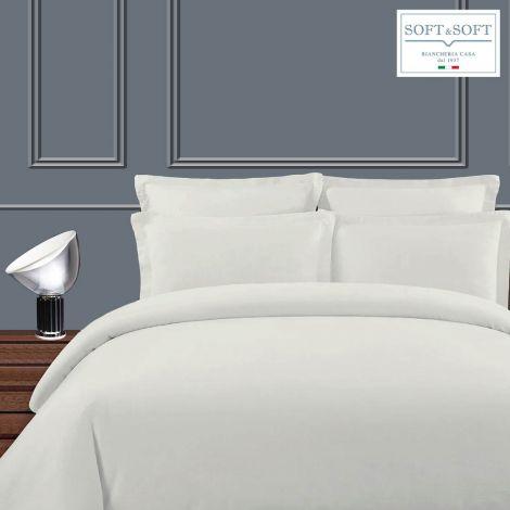 RASO VIVO duvet cover set for double bed in white cotton satin