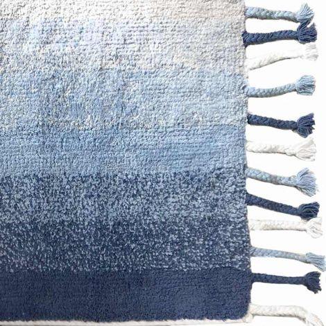 Cotton melange tappeto cm 50x80 in cotone per cucina bagno camera -Azzurro