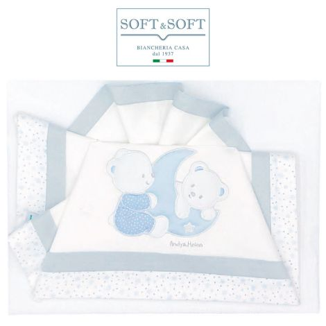 ORSETTI D51 Embroidered Bed Sheets Set with Rails - Light Blue