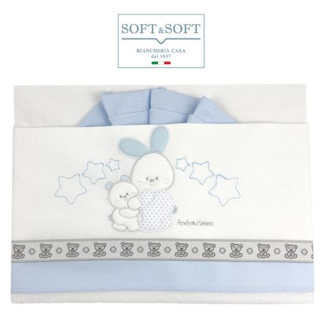 ORSETTI D59 Embroidered Bed Sheets Set with Sides - Light Blue