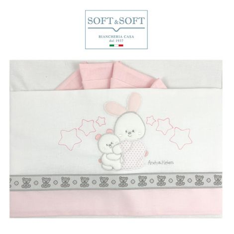 ORSETTI D59 Embroidered Bed Sheets Set with Sides - Pink