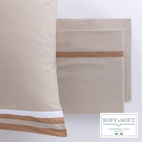 DA VINCI completo lenzuola MATRIMONIALE puro cotone-Tortora
