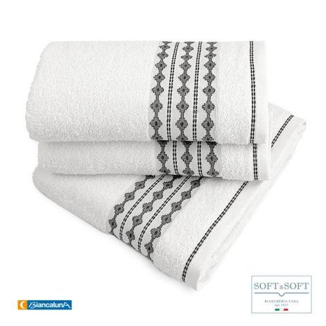 DALEN Set Asciugamani Jacquard 5 pz (Asciugamani, 2 Ospiti e 1 Telo Bagno) BIANCALUNA-Bianco