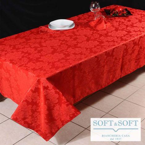 DAMASCO Tovaglia Rossa cm 170x300 + 12 Tovaglioli - Tessuto Jacquard in Cotone