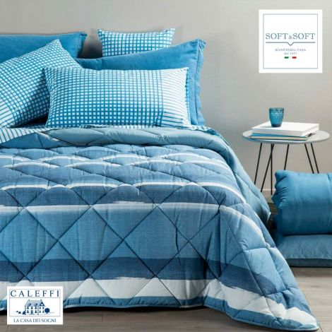 DENIM winter quilt for SINGLE bed microfiber CALEFFI Blue