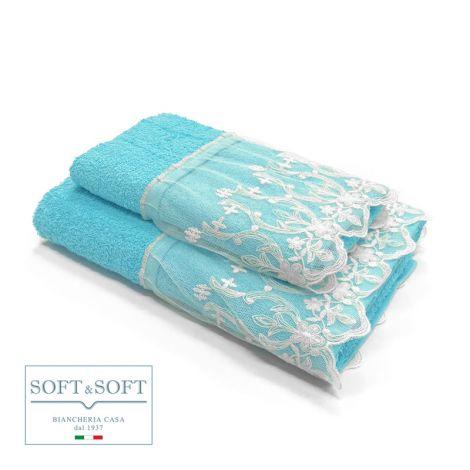 DENISE Set Asciugamani 1+1 in Spugna di Puro Cotone Balza in Pizzo CREOLE-Turchese