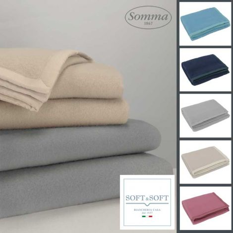 DIANA three-quarter blanket in pure virgin wool SOMMA 180x210 cm
