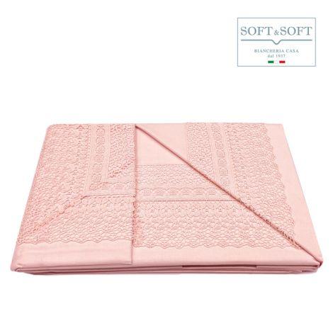 ELISA completo lenzuola in puro cotone con bordo in pizzo ROSA