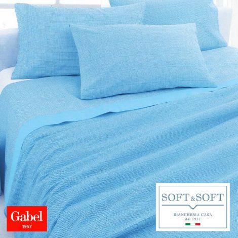 ESSENZIALE Copriletto Estivo in Piquet di Cotone per Letto Matrimoniale GABEL-Azzurro