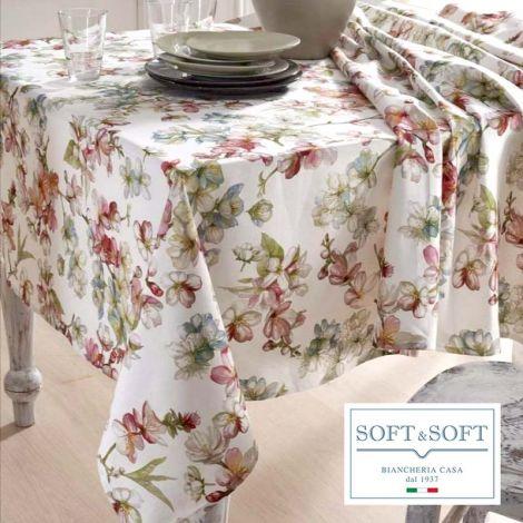 FIORI DI PESCO tablecloth for 6 people 140x180 easy iron