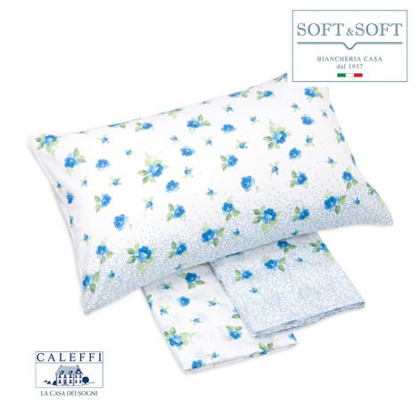 FLORES Sheet Set for DOUBLE Bed in Cotton CALEFFI Light Blue