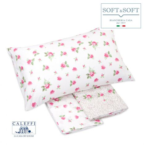 FLORES Sheet Set for DOUBLE Bed in Cotton CALEFFI Pink