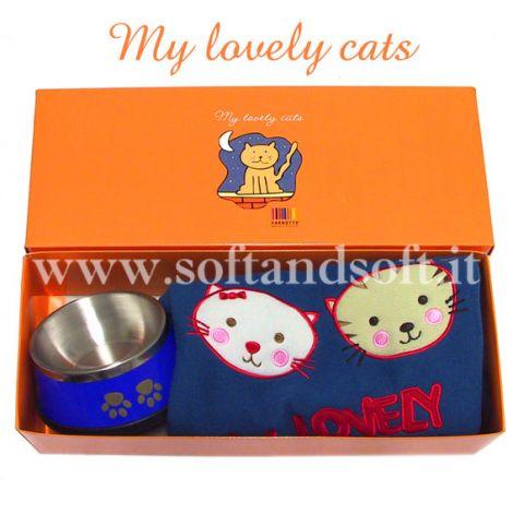 pet ciotola crocchette e plaidi gatto