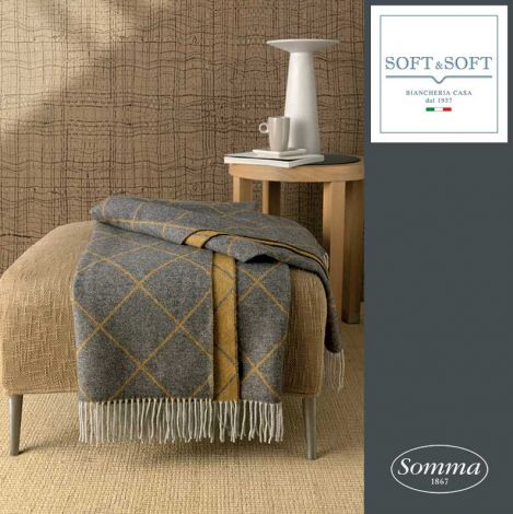 GOLD Jacquard plaid in wool and cashmere Somma 130x180 cm with fringes