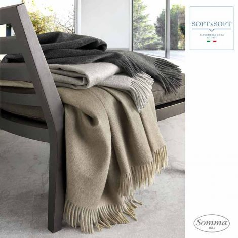 HERITAGE plaid in 100% Cashmere Somma 130x180 cm with fringes