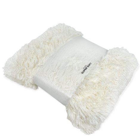 HIMALAYA plaid in pelliccia ecologica cm 130x160-Panna