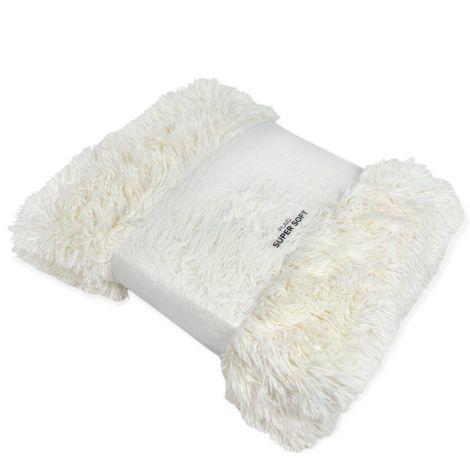HIMALAYA plaid coperta matrimoniale in pelliccia ecologica cm 200x220-panna