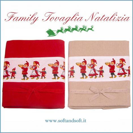 Family Christmas Tablecloth cm 140x180