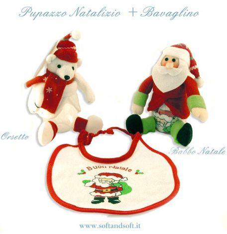 BOULE Pallina trasparente decorata a pupazzo con Bavaglino Natalizio