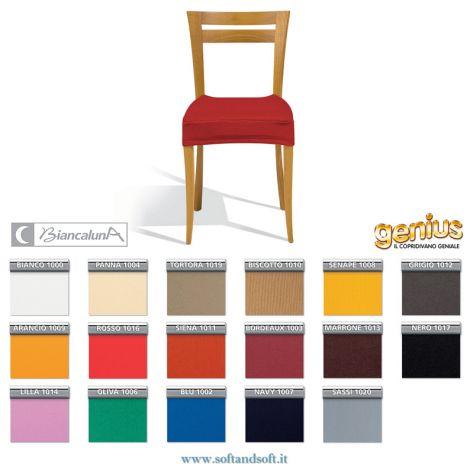 coprisedia elasticizzato universale imbottito tinta unita genius Biancaluna rifinito con laccetti di tanti colori tinta unita, ricopre la seduta,