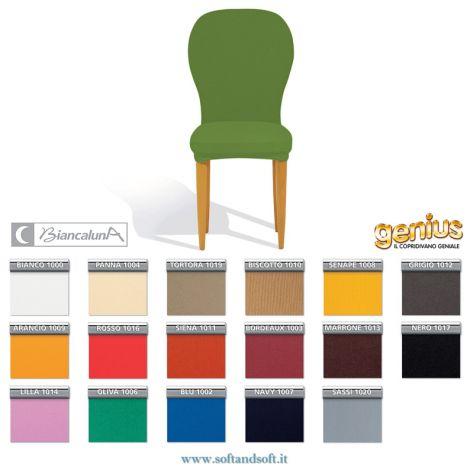 Copri sedia universale elasticizzato che copre anche lo schienale imbottito nella seduta e nello schienale tinta unita Genius Biancaluna disponibile in tutti i colori