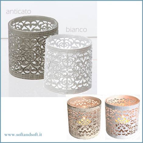 TeaLIght made of metal color white cm 9H