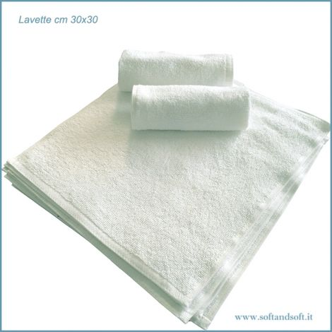 LAVETTE Bianche in Morbida Spugna di Puro Cotone 12 Pezzi cm 30x30
