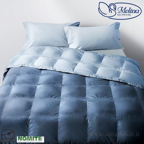 Trapunta piuma d'oca invernale blu azzurro letto singolo